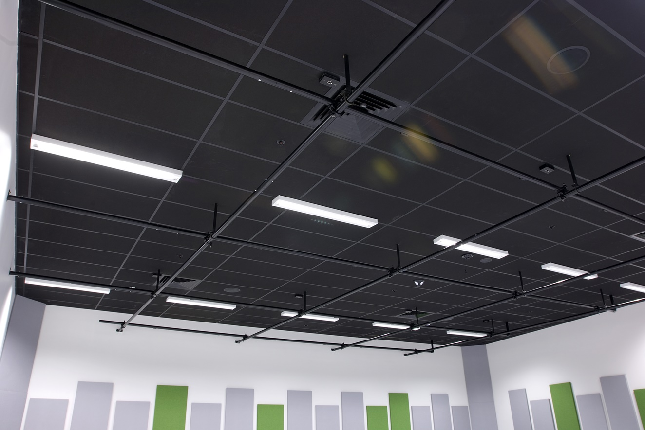 Hobsonville Point Intermediate music room showing Avant 15 Black ceiling installed into a grid & tile system.