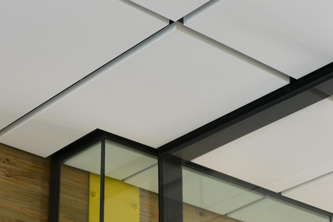 St Cuthberts Girls School swimming pool complex ceiling showing a detail section of the Triton Cloud pool panel installed