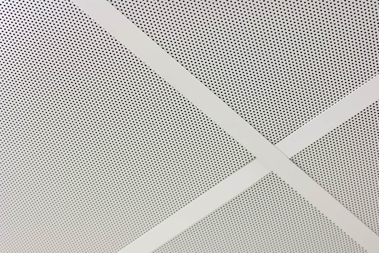 Manukau Police Centre interview room showing a detail of Defender 50 installed into the ceiling