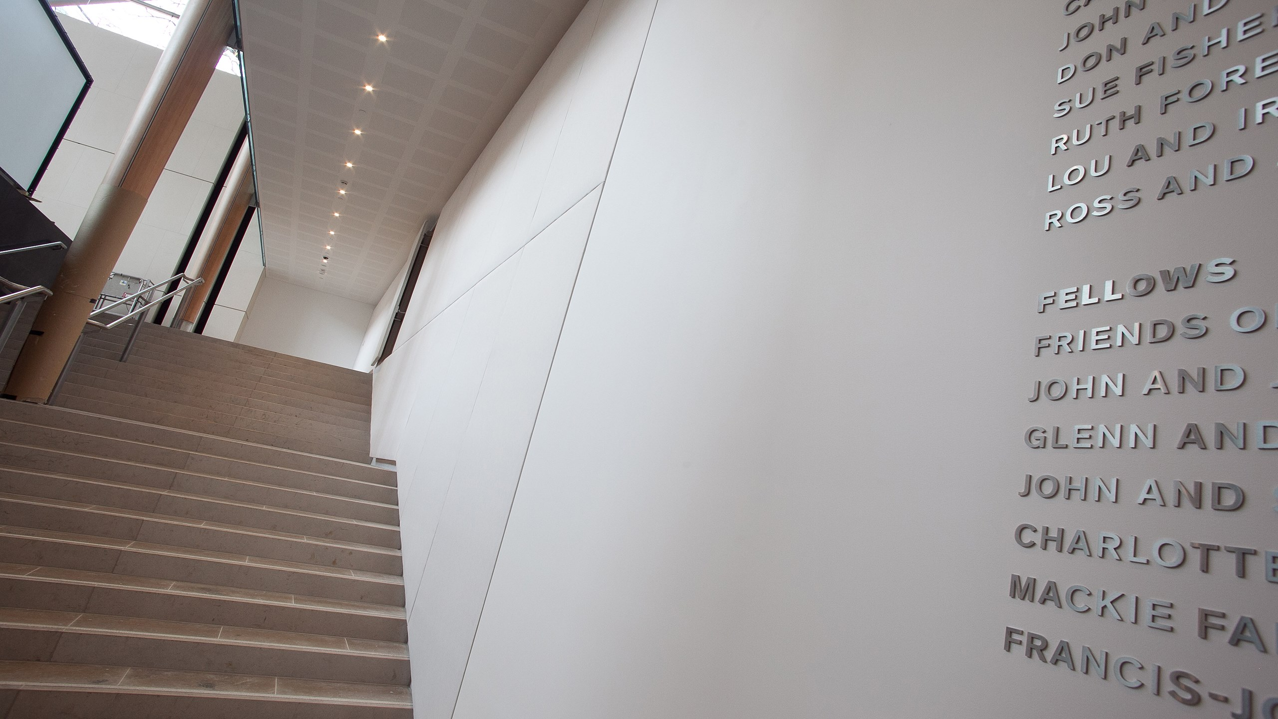 Auckland Art Gallery oversized Fabwall panels in light grey fabric