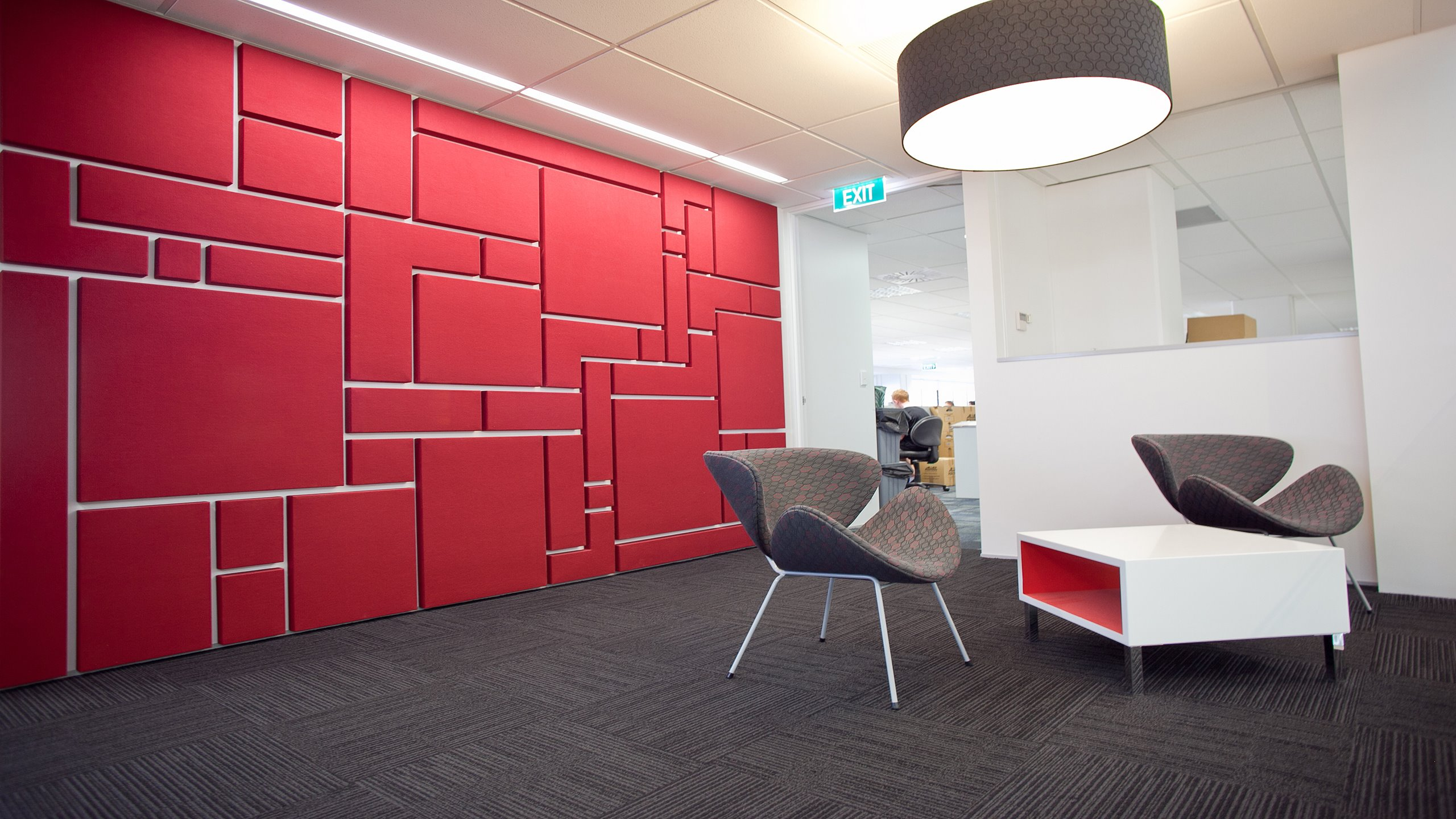 BECA Tauranga office feature Fabwall wall showing Aztec design panel configureration