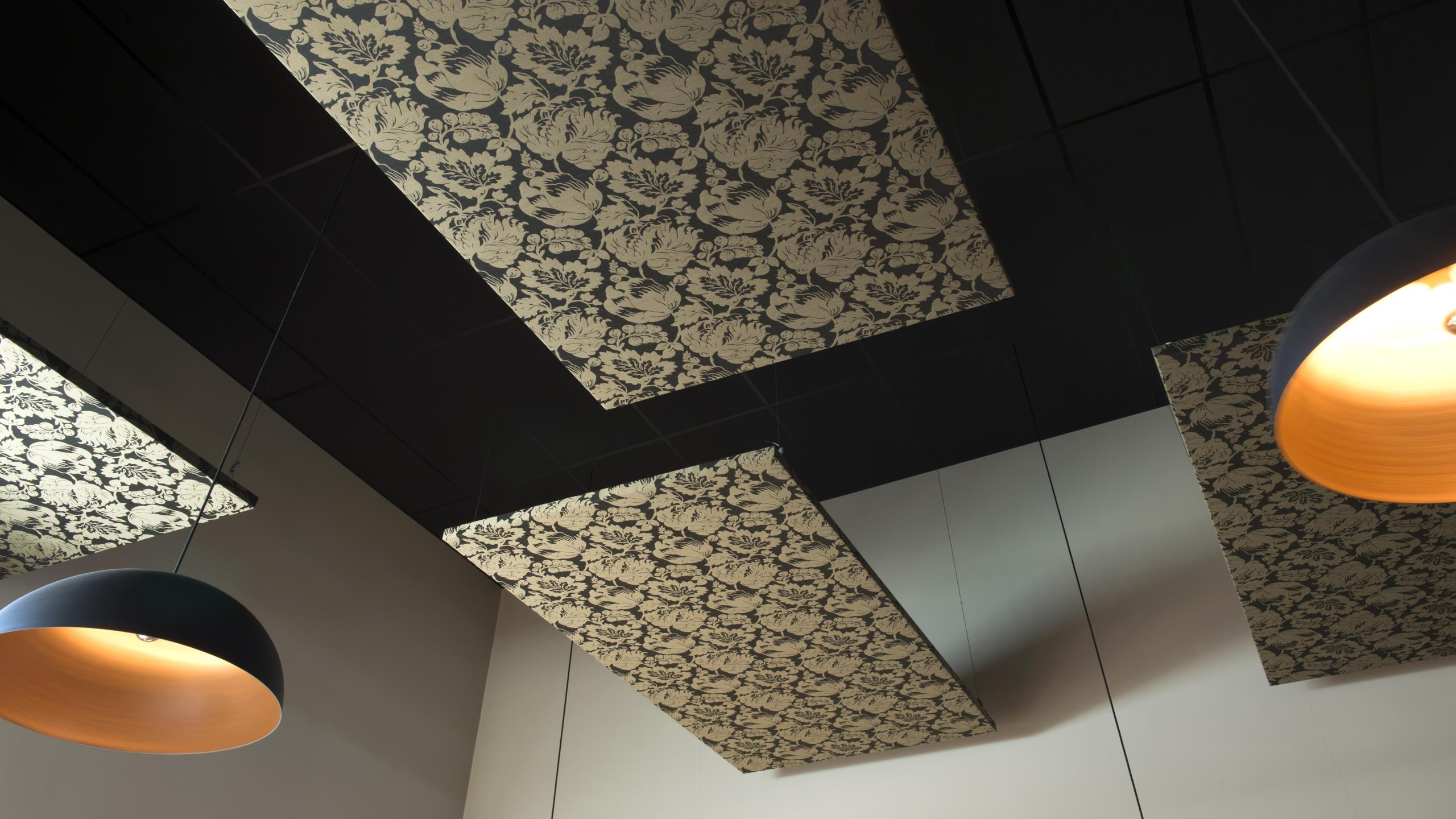 suspended rectangular fabric cloud panels in the Twisted Hop Bar