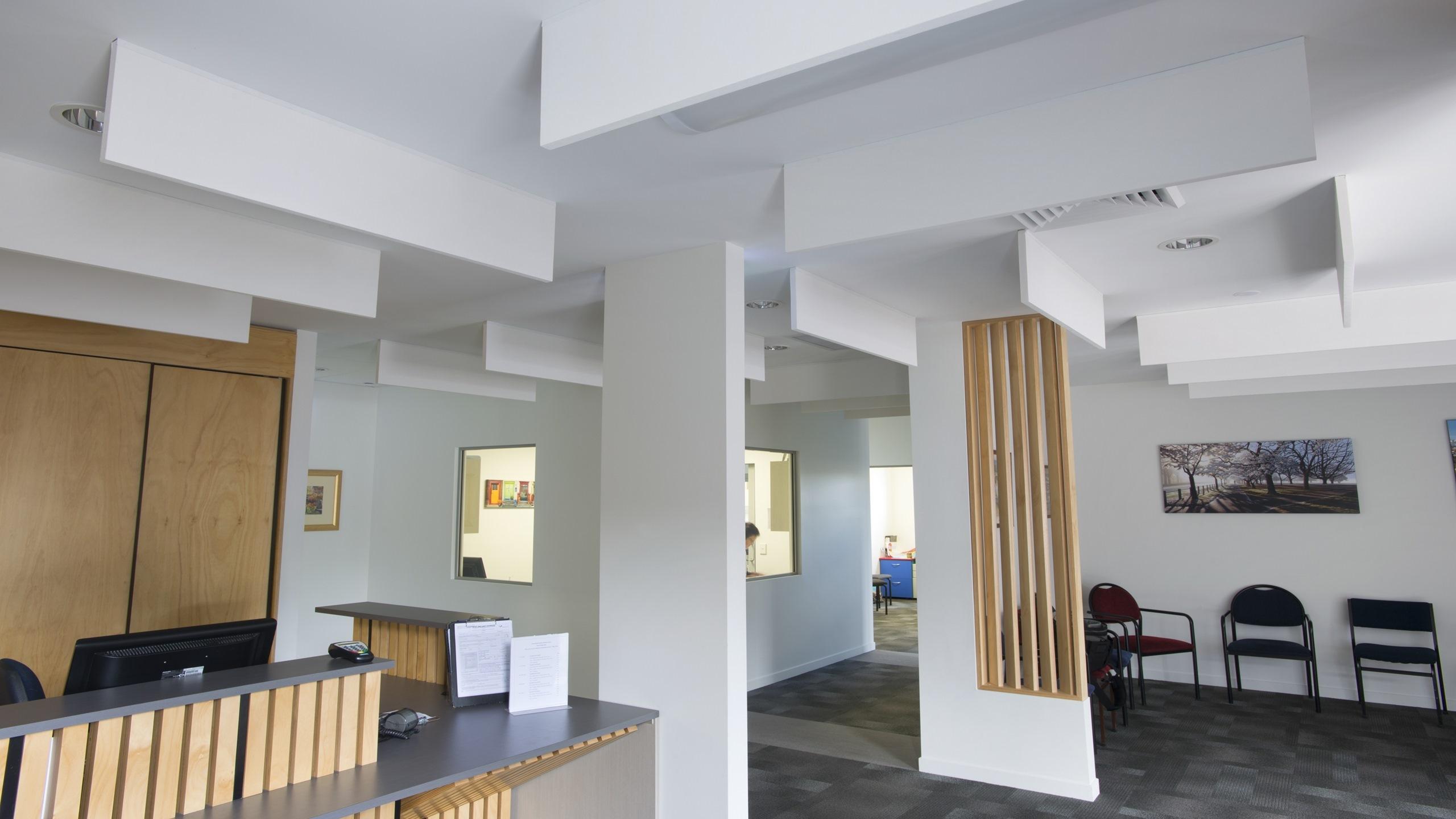 Marshland Medical Centre showing white direct fixed Baffle Panels