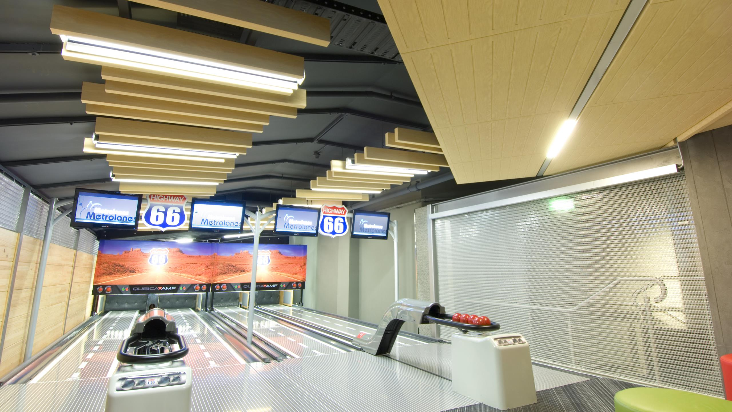 Metro Bowling Alley, AKLD - Baffle Beams + wood-grain Sonatex