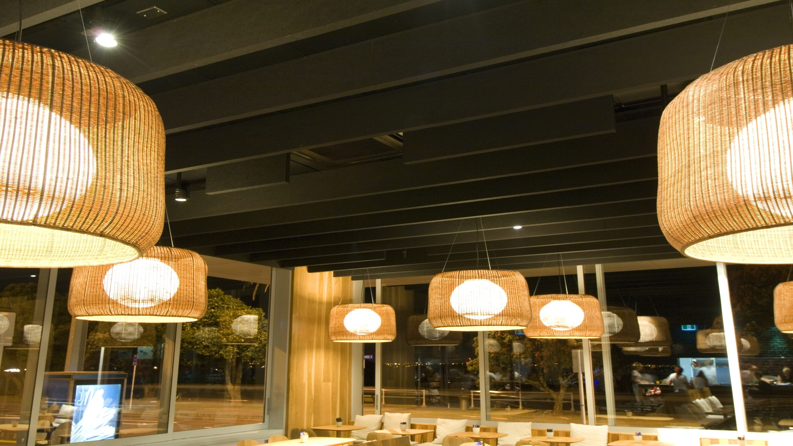 St Heliers Bistro showing black Baffle Beams installed to a black ceiling